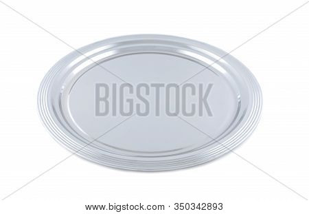Empty Metal Tray Isolated On White. Restaurant Equipment