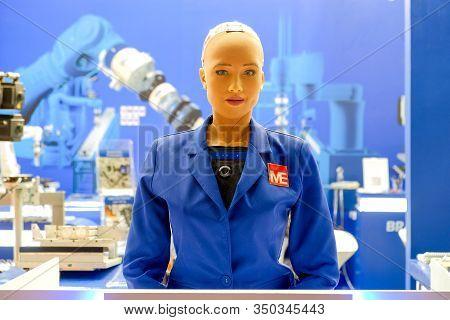 Bangkok-thailand Jun 22 2018: Sophia Robot On Blue Engineer Shirt, She Has Came Show In Manufacturin