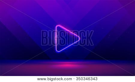 Play Button On Abstract Purple And Blue Background. Multimedia, Audio, Video, Cinema, Music Abstract