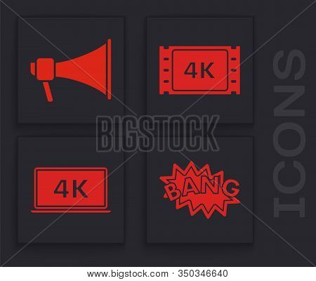 Set Bang Boom Text Speech Bubble Balloon , Megaphone , 4k Movie, Tape, Frame And Laptop Screen With