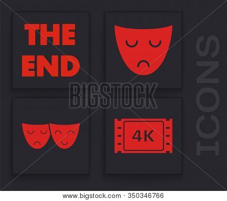 Set 4k Movie, Tape, Frame , The End Handwritten Inscription , Drama Theatrical Mask And Comedy And T