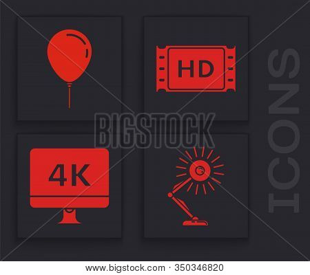 Set Table Lamp , Balloon With Ribbon , 4k Movie, Tape, Frame And Computer Pc Monitor With 4k Video T
