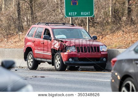 Car Crash Accident On Highway At Day Nobody