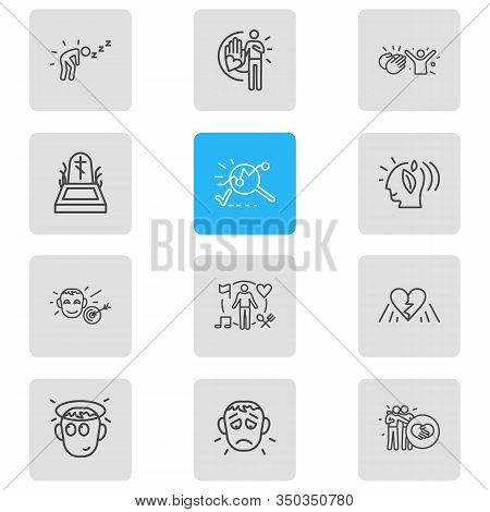 Illustration Of 12 Emoji Icons Line Style. Editable Set Of Behavior, Offence, Analysis And Other Ico
