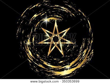 Seven Point Star Or Septagram, Known As Heptagram. Gold Elven Or Fairy Star, Magical Or Wiccan Witch