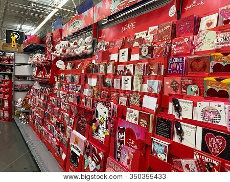 Orlando,fl/usa-2/6/20: A Valentines Display At Walmart Of Cards And Stuffed Animals With Hearts Read