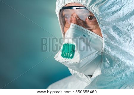 Tired Epidemiologist In Wuhan-coronavirus Quarantine, Conceptual Image Of Medical Specialist Wearing