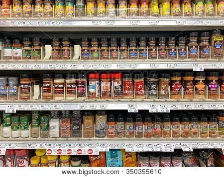 Orlando, Fl/usa-2/8/20: The Spice Aisle At A Publix Grocery Store With A Variety Of Spices And Meat