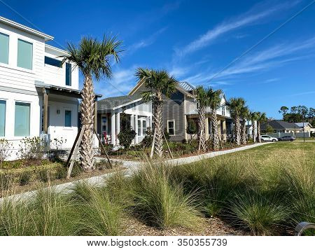 Orlando, Fl/usa-2/10/20: The Pocket Park  Lined With Palm Trees That Is A Walking Path In Front Of H