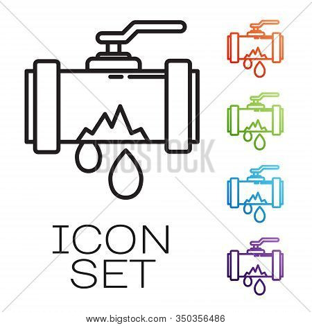 Black Line Broken Metal Pipe With Leaking Water Icon Isolated On White Background. Set Icons Colorfu