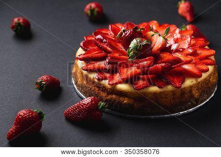Whole Strawberry Cheese Cake Dessert Closeup.