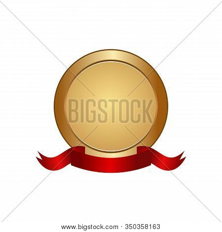 Best Price Circle Logotype And Ribbon Premium Quality Product. Shopping Label In Round Shape Of Sati