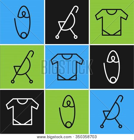 Set Line Classic Steel Safety Pin, Baby Onesie And Baby Stroller Icon. Vector