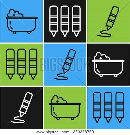 Set Line Baby Bathtub, Wax Crayon For Drawing And Wax Crayons For Drawing Icon. Vector