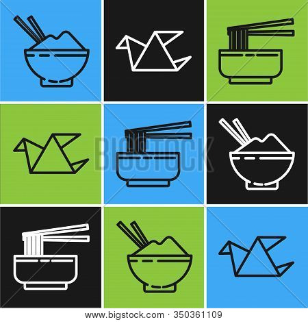 Set Line Rice In A Bowl With Chopstick, Asian Noodles In Bowl And Chopsticks And Origami Bird Icon.