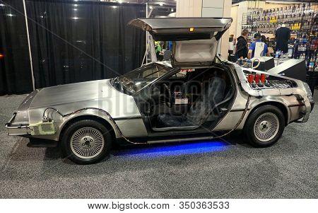 Philadelphia, Pennsylvania, U.s.a - February 9, 2020 - The Silver Dmc Delorean Car Used In The Back