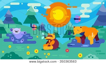 Family Or Group Of Bears In Wood Glade Vector Illustration. Wild Animals Adult Bears And Little Cute