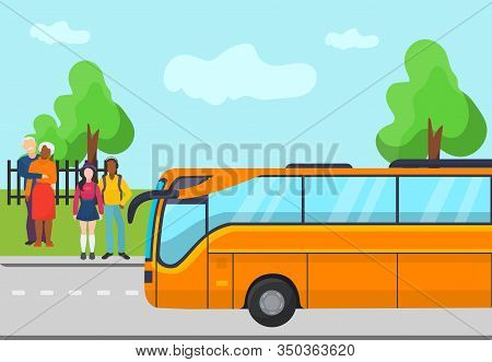 Bus Goes On Road Arrives To Open Air Stop And Standing People Vector Illustration Flat. Elderly And