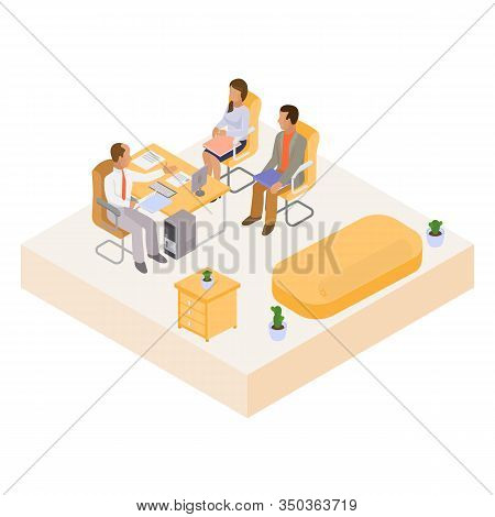 Interview With Job Candidates In Office Workplace Meeting Vector Illustration Isometric. Sitting At