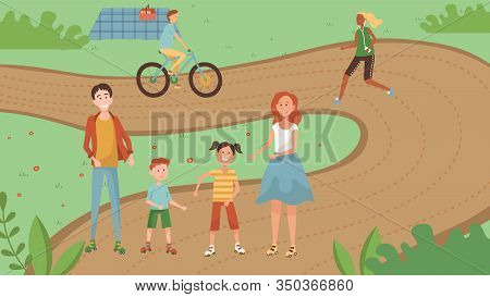 Famity Weekend Time Concept. Family With Kids Are Walking In The Park. Happy Parents With Children H