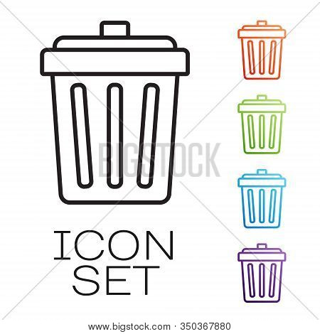 Black Line Trash Can Icon Isolated On White Background. Garbage Bin Sign. Recycle Basket Icon. Offic