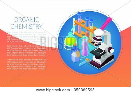 Organic Chemestry Education And Science Concept With Glass Flasks, Reagents And Microscope Vector Il