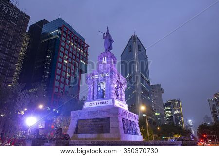 Mexico City - Jan. 16, 2020: Cuauhtemoc Statue At Night On Avenida Paseo De La Reforma Avenue In Mex