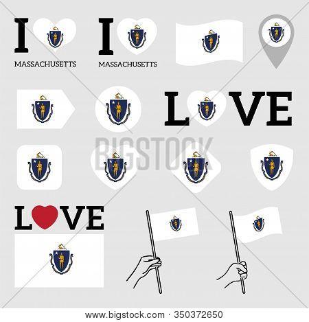 Flag Of The State Of Massachusetts Usa. Set Of Vector Flags Of Various Shapes. I Love Massachusetts.