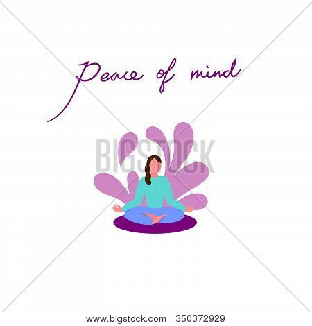 Peace Of Mind.meditation In Lotus Pose On White Background. Yoga Practice For Mind And Body Health.