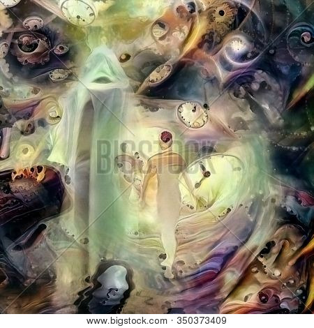 Souls Journey. Spiritual abstract painting. 3D rendering