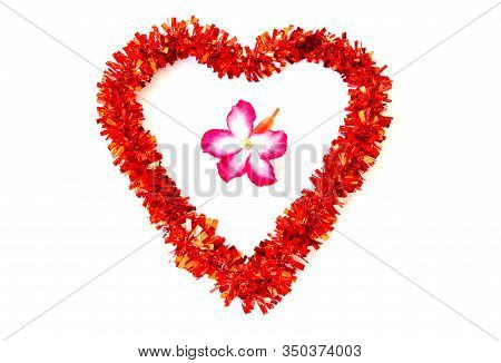 Red Heart Shaped Decoration With Azalea Flowers In The Middle Isolated On A White Background