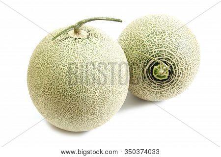 Cantaloupe Melon Fruit Isolated On White Background