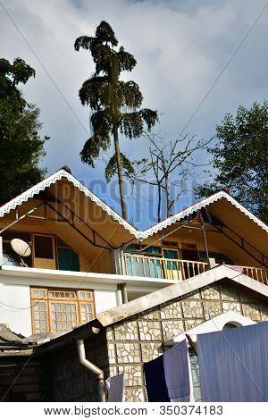 Takdah, Darjeeling, West Bengal, India - December 26, 2019 : Sai Hridayam, A British Heritage Bungal