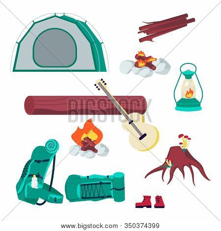 Hiking Camping Stuff Set. Campsite Gear Backpack, Tent, Guitar, Lantern And Firewood Isolated On Whi