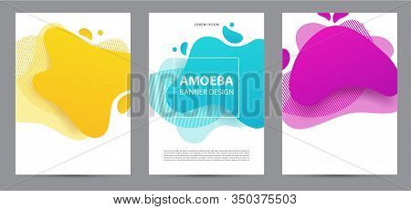 Amoeba Funky Design For Print Products. Dynamic Style Banner Set With Amoeba Funky Gradient Elements
