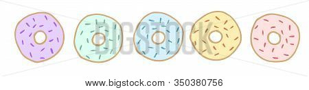 Donut Vector Set Isolated On A White Background. Donut Collection. Sweet Sugar Icing Donuts.donuts T