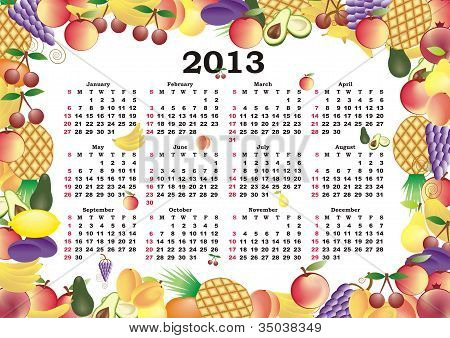 Vector Calendar 2013 In Colorful Frame