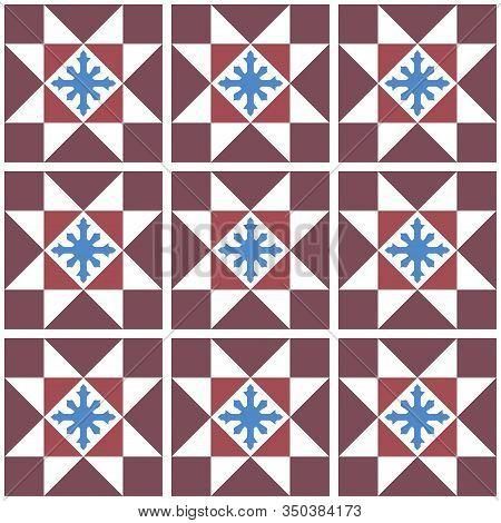 Vintage Baba Nyonya Peranakan Tile And Mosaic Pattern. Traditional Seamless Peranakan Tile. Vintage