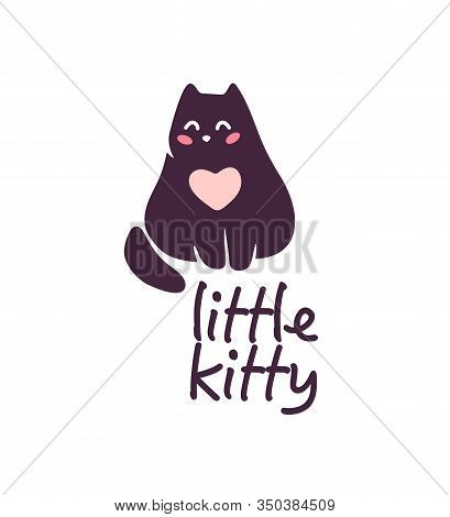 Logo Design For Kid Toys Store, Market, Boutique With Cute Kitty Character Silhouette Sitting Isolat
