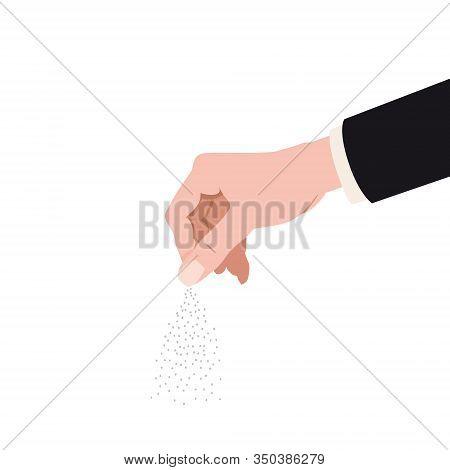Human Hand Salting, Salts, . Cooking Gesture Sprinkle Vector Isolated Cartoon Style Illustration