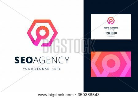 Logo And Business Card Template For Seo Agency. Magnifying Glass Sign In A Hexagon In Origami, Line