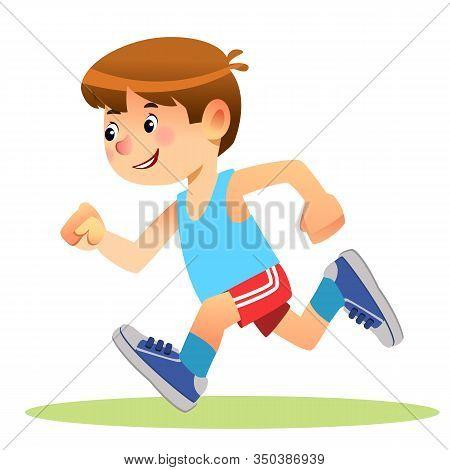 Boy Running. Marathon Runner Or A Boy Running On School Sport Day. Cartoon Stock Vector Illustration