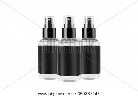 Transparent Spray Bottles For Cosmetics Product With Black Blank Label Isolated On White Background,