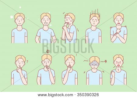 Kids Emotions And Facial Expressions Set Concept. Illustration Or Collection Showing Different Emoti
