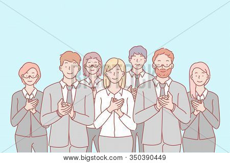 Business, Team, Congratulation, Applause Concept. Group Of Young Happy Business People Applause In H