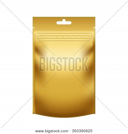 Realistic Blank Golden Pouch Doypack With Zip Lock