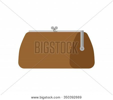 Retro Closed Wallet Isolated. Old Purse. Vector Illustration