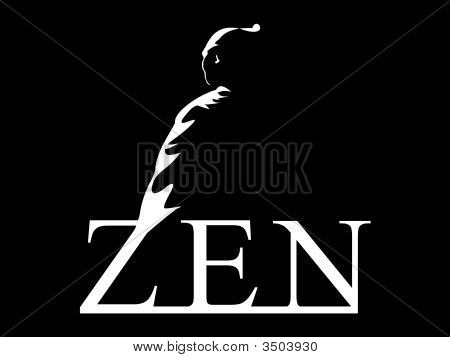 "Samurai made a Meditation lotus position above the word ""ZEN"" poster"