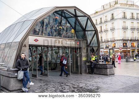Madrid, Spain - January 25, 2020: Sol Metro Station Entrance Near Plaza Mayor  Puerta Del Sol Square