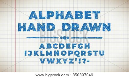 Blue Vintage Hand Drawn Typeface. Retro Styled Font. Cute Lettering Hand Drawn On Page From An Old C